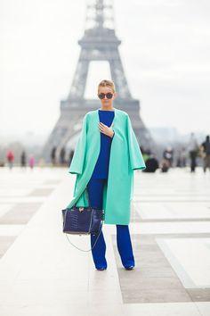 Color blocking in Paris.