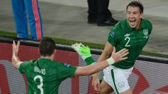 Sean St Ledger (right) celebrates his goal with Stephen Ward