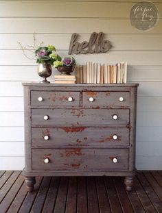 Buffet painted by Ferpie and Fray in Old Fashioned Milk Paint Co. Grey Painted Furniture, Colorful Furniture, Paint Furniture, Furniture Projects, Furniture Plans, Kids Furniture, Furniture Makeover, System Furniture, Dresser Makeovers