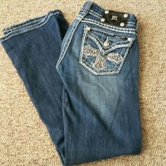 Miss Me Jeans Excellent used condition. No holes. No stains. No rips. Any marking is a design of the jeans and not a flaw. Inseam is 30 1/2 inches. Width of hem is 8 inches. Waist measures 14 1/2 inchws. These jeans are stretchy.  ⚠Single item offers thru offer tab only/bundles recieve 15% off using bundle feature⚠ ❌No trades ❌No other sites ❌No pay pal (1125) Miss Me Jeans Boot Cut