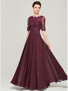 A-Line/Princess Scoop Neck Floor-Length Chiffon Lace Mother of the Bride Dress With Beading Sequins (008062570) - JJsHouse
