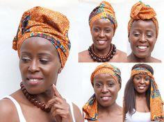 "5 ways to wrap your hair.  Using ""turtle"" heritage Dutch wax print. #hairwrap #african  okè, Kenté, Ankara, doek, duku, tukwi, gele, afican prints, African fashion styles, African clothing, Nigerian style, Ghanaian fashion, African women dresses, African accessories,  Ankara, Kitenge,  dutch wax."