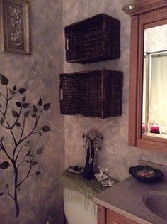 Basket shelves in my bathroom.. My latest project.. I love it!!