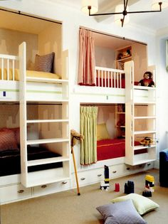 Built in bunk beds with stairs rather than a ladder, storage under beds, and built in cubbies.