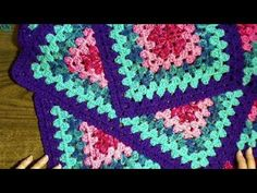 Squared Diamond Granny Throw Right handed - YouTube
