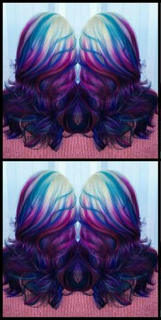 Blue purple dyed hair color @esteticausa