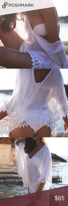 SEXY AS F$%K swimsuit Cover up/lingerie NWOT This off the shoulder lace trimmed sheer poncho might be the sexiest cover up I have yet seen... it's so sexy you can even wear as lingerie this is HOT HOT HOT!!! Tops Tunics