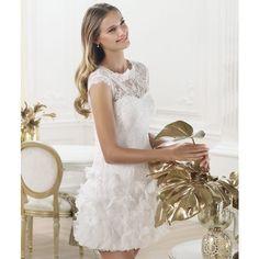 Mini Sheath Lace Knee Length wedding Dresses S3514 White