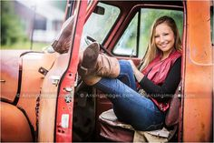 Unique senior pictures at a farmhouse with a rustic old truck. Perfect outfit to match!