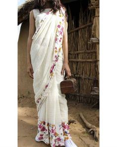 4babe1ce8bd3ce Off White Saree With Floral Border I Shop at :http://www.