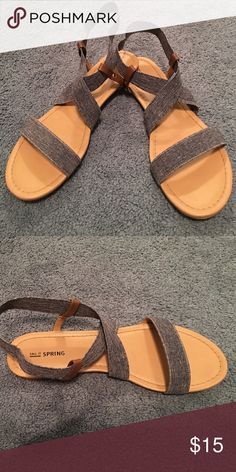 CALL IT SPRING denim strap sandals CALL IT SPRING - blue denim print sandals - straps are stretchy - NEVER worn. Call It Spring Shoes Sandals