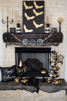 What's black and white and metallic all over? This Halloween mantel goes glam…