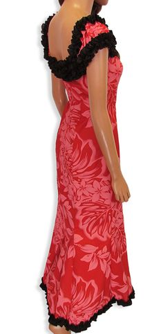 $99.95 This stunning Long Muumuu Dress can give you the amazing look you are looking for. Wear it on or off the shoulder. It features a short train detailing the bottom of the garment. This Ruffle Dress is perfect for luaus, performances and all around fun days in Hawaii.    Poly Cotton.  Color: Red.  Sizes: XS - 2XL  Made in Hawaii - USA