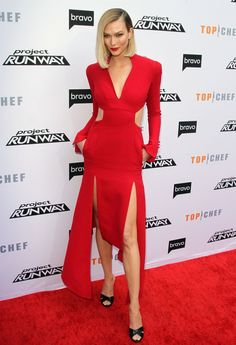 Hollywood Model and Entrepreneur Karlie Kloss In Red Dress At Bravo's Top Chef and Project Runway Event in LA 04/16/2019.