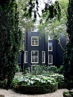 House - dark exterior with green all around