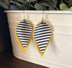 Excited to share this item from my shop: Black & white striped earrings Striped Earrings, Diy Earrings, Leather Earrings, Earrings Handmade, Black Earrings, Teardrop Earrings, Wooden Jewelry, Clay Jewelry, Jewlery