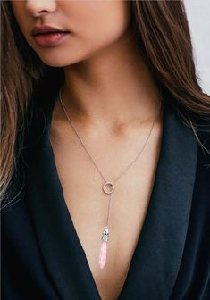 Lariat Necklace for Women Heart Pendant Tree of Life Rose Quartz Amethyst Opal Layered Necklace Agate Necklace, Lariat Necklace, Fashion Necklace, Fashion Jewelry, Women's Fashion, Beaded Jewelry, Quartz Jewelry, Amethyst Pendant, Layered Necklace