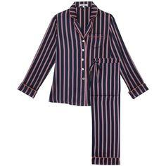 Olivia von Halle Lila Prudence Pyjamas ($480) ❤ liked on Polyvore featuring intimates, sleepwear, pajamas, blue, silk pajamas, silk sleepwear, long sleeve pajamas, blue silk pajamas and striped pajamas
