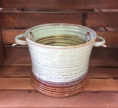 Stoneware pottery clay pot with handles