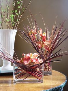 Pitcher Hydrangea And Dried Stick Arrangement Kesme
