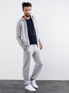 Soft Goat Men's Hoodie and Pants in Light grey