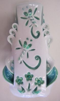 """Hand-carved, Cut and Curl 7.5"""" Tapered Candle with Hand Carved Dragonfly and Flower Design in Aqua Blue, Green and White - http://candles.pinterestbuys.com/hand-carved/hand-carved-cut-and-curl-7-5-tapered-candle-with-hand-carved-dragonfly-and-flower-design-in-aqua-blue-green-and-white/"""