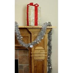 12' Silver Christmas Tinsel Garland with Holographic Polka Dots - Unlit