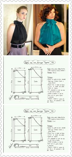 Blouse Pattern Free, Vest Pattern, Dress Sewing Patterns, Sewing Patterns Free, Diy Clothing, Sewing Clothes, Diy Dress, Fashion Dresses, Fashion Design