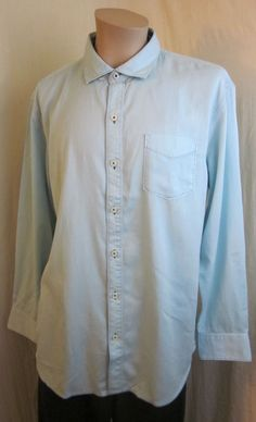 TOMMY BAHAMA Jeans Blue Tencel Cotton Button Front Long Sleeve Shirt L Large NEW #TommyBahama #ButtonFront