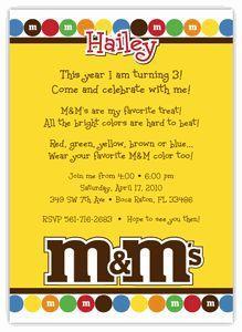 M&M's party invitations - Google Search