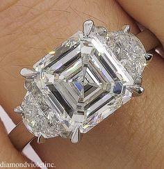 GIA Estate Vintage Asscher Diamond 3 Stone Engagement Wedding Platinum Ring A Breathtaking Es Diamond Jewelry, Jewelry Rings, Fine Jewelry, Diamond Rings, Boho Jewelry, Asscher Cut Diamond Engagement Ring, Jewellery, Ring Engagement, Silver Jewelry