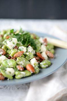 Broad Bean, Feta, and Almond Salad - gorgeous, simple salad