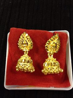 Indian jewelry - small simple gold earrings | HDaccessories