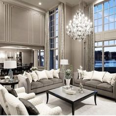 There are many elegant living room ideas that you might decide to get applied in your living room design. Because you have landed here then most probably you want Elegant living room answer. House Styles, Home And Living, Room Design, House Interior, Interior, Luxury Living, Elegant Living Room, Silver Living Room, Formal Living Room Decor