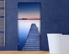 Zelfklevend Deurbehang Steiger bij Zonsondergang