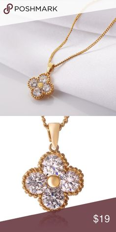Necklace Gold AAA Cubic Zirconia 4 Stones. Jewelry Necklaces