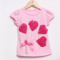 Cute Valentine T-shirt for Girl with Hearts  Size 2T. $19.00, via Etsy.