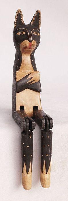 Lustige Deko-Skulptur aus Holz =Große KATZE als KANTENHOCKER 39cm= Geschenk-1 in Sammeln & Seltenes, Welt der Tiere, Katzen | eBay