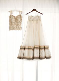 Lace choli, net ghagra with border, contrast dupatta
