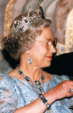 The aquamarine parure, on a historic state visit to Russia. British Monarchy History, Elisabeth Ii, Profile View, Royal Jewels, Tiaras And Crowns, Queen Elizabeth Ii, Long Live, Royal Families, British Royals