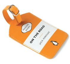 """Penguin Luggage Tags. this one features kerouac's """"on the road"""". yes, the bookworm in me approves this very much."""