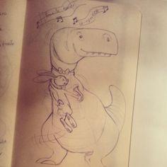 un t-rex et un lapin qui danse la carioca