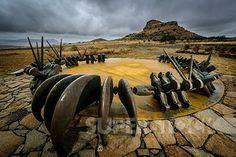 Stock Photo #4441-13355, The Monument to the fallen Zulu Warriors at Isandlwana Battlefield. KwaZulu Natal Midlands. South Africa. A large b...