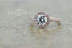 2.50 CT Engagement Ring Round Cut Halo Solid 14k Rose by Zhedora