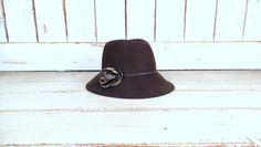 Vintage brown wool leather rose cloche fedora hat/brown wool felt hat by GreenCanyonTradingCo on Etsy