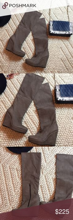 "Stuart Weitzman wedge knee high boots These have not been worn. No box. One small scratch on inner right boot.  Smooth suede material Knee high Size 38.5/US 8.5 Heel is 4.5"" Platform of 1""+ Total height of boot is 22"" Color is true to pics, tan /taupe Stuart Weitzman Shoes Over the Knee Boots"