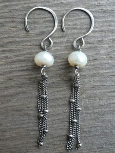 Snowfall Earrings Freshwater Pearls Oxidized by jNicDesigns