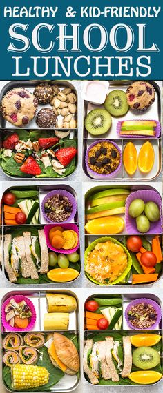 6 Healthy School Lunches (Easy & Kid-Friendly) that are perfect for picking eaters to start the new year. Best of all, tons of ideas for nut-free, dairy-free and gluten free options. Healthy School Lunches, Healthy Snacks, Healthy Eating, Healthy Recipes, Healthy Kids, Kid Snacks, Dinner Healthy, Fruit Salad Recipes, Lunch Recipes