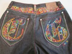 Coogi-Mens-Jeans-Waist-38-Length-34-Multicolored-Embroidery-Designed