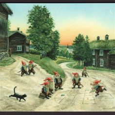 These are nisser, drawn and painted by artist Kjell E. Nisser is a mythological creature from Nordic folklore today typically associated with the winter solstice and the Christmas season. Gnome Pictures, David The Gnome, Magical Images, Scandinavian Gnomes, Mythological Creatures, Old Postcards, Faeries, Art Images, Norway
